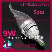 Wholesale 5pcs E14 E12 E27 B22 Silver and Tail Candle LED Light Lamp Bulb W Dimmable Warm White Cool White