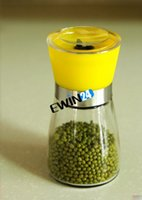 peppercorns - Hand Glass Pepper Peppercorn Salt Herb Spice Grinder Mill Sleek Design Kitchen Accessories