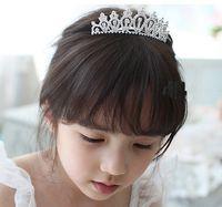 Wholesale New Cute Children Kids Girls Rhinestone Princess Hair Band Crown Headband tiara hair jewelry wedding accessories