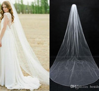 Wholesale 2016 In Stock Simple Bridal Veils Cheap Long Veils Soft Tulle Long Veil Cathedral Veils for Wedding Events Wedding Veil White Ivory CPA077