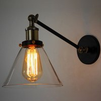angle bar materials - Retro Village Wall Lamp Iron Metal Material Transparent Glass Lamp Shade Angle Adjustable Bedroom Corridor Bar Loft Restaurant