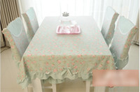 table chair - Countryside Style Dinner Table Cloth Flowers Plaid Lace Bowknot Floral One Set Include Chair Cloth One Table Cloth H1983