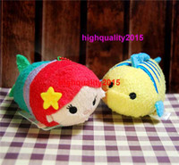 Wholesale TSUM Ariel the Little Mermaid and Flounder Fish mobile screen cleaner keychain bag hanger plush toys gift