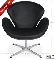 Wholesale MLF Swan Chair Italian Leather Hand Sewn Swivel Polished Star Aluminum Base with Plastic Pads