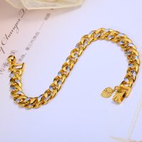 Wholesale 9mm Bracelets Not Fade Men s Chirstmas Link Chain Copper k Gold Plated Fine Jewelry Hot Sale Top Fashion New Arrival Direct Selling