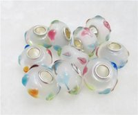 Wholesale 7x14mm Handmade Lampwork Bead Big Hole loose Glass Beads Fits European Bracelet for Jewelry findings mix style