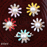 Wholesale Newborn Mini Shiny Bulk Decorative Metal Buttons For Craft Lovely Cheap Flatback Pearl Buttons For Flower Centre MM Colors ZK486
