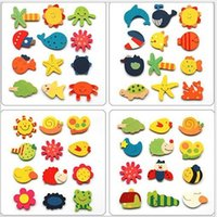 fish decorations - Wooden Sea Animals Fridge Magnets Home Garden Decoration Animal Star Sun Hands Fish Dolphin Wood refrigerator magnets bag D3650