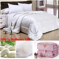 Wholesale 100 Natural Mulberry Silk Comforter edredon casal Queen King Full size Duvet Blanket Silk Quilt white pink beige duvet filling
