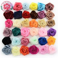 Cheap 1-51 (300 pcs Lot ) Handmade Decoration 25mm Satin Ribbon Rose Flower Wedding Appliques Trim Sewing DIY Craft Free Shipping