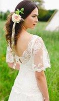 crystal crosses - Luxuries Hot Column Backless Wedding Dresses Lace Vintage Short Sleeve Ellie Saab Events Beach Wed Formal Sheer Parti Gowns Sheath