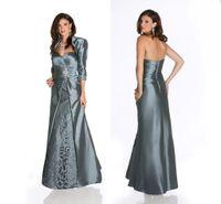 Wholesale Elegant Taffeta Crystal Applique Sweetheart Mother Dress With Jacket Long Evening Dress Mother of the Bride Groom Mother Dresses M