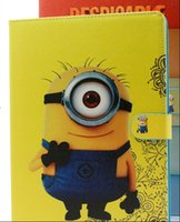 automatic covers - Hot selling cartoon minion flip case for Ipad Air II Holder PU leather magnetic smart cover with automatic wake sleep function for Ipad6