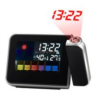 Wholesale Freeshipping Cheap Digital LCD Screen LED Projector Alarm Clock Mini Desktop Multi function Weather Station Dropshipping