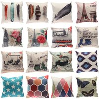 cartoon pillow - 100 Styles Prevailing Flower Printing Linen Cotton Pillow Cases For Bedroom Livingroom CM Cartoon Cushion Covers Pillow Cases Mix EXO