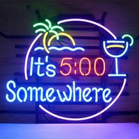 Wholesale 17 quot x14 quot Its O clock Somewhere Design Real Glass Neon Light Signs Bar Pub Restaurant Billiards Shops Display Signboards