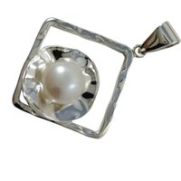best inexpensive - Square Fresh Water Pearl Charm Jewelry Unadjustable Inexpensive Silver Pendants Necklace Decoration Best Charm Pendants N5586