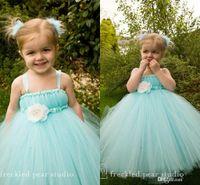 aqua wedding flowers - Aqua Blue Floor Length Flower Girl Dresses Children for Weddings Spaghetti Straps Girls Pageant communion dresses
