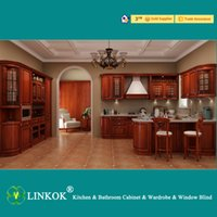 bar furniture suppliers - Linkok Furniture Guangzhou supplier custom made solid wood kitchen cabinets with eating bar