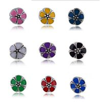 Wholesale Pink Cherry Blossom Clip Charm Sterling Silver European Charm Bead Fit Snake Chain Bracelet Women Jewelry