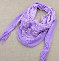 sequin scarves - 2015 new fashion chiffon lace cotton triangle scarf shawl ms sequins shawls scarf colors