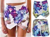 Wholesale 2015 Fashion Hot Summer Sexy Shorts Women Elastic Waist High Waist Floral Print Vintage Casual Mini Beach Shorts A Shorts Skirt Shorts
