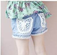 Wholesale Maternity Jeans Real Cropped Shorts for Pregnant Hot Children s Shorts Children Summer Girls Fashion Denim Lace Jean Pants Pocket
