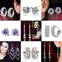 Wholesale Top Grade Silver Stud Earrings Hot Sale Fashion Crystal Flower Drop Dangle Earring for Women Girl Jewelry WH