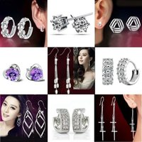 Wholesale Top Grade Silver Stud Earrings Fashion Crystal Flower Drop Dangle Earring for Women Girl Party Jewelry Free Ship WH