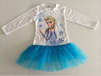 Wholesale 2015 New Autumn long sleeve girls Frozen dresses girls elsa anna white top blue lace dress tutu dresses for T