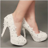 Cheap 2015 Free Shipping Fashion In White Pearls Crystals Beaded Lace Wedding Shoes Women's High Heels Bridal Evening Prom Party Bridesmaid Shoes