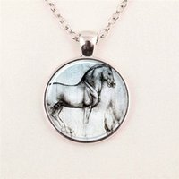 art chains - glass photo cabochon Horse Necklace Silver Vintage Horse Art glass dome pendant jewelry glass gemstone necklace
