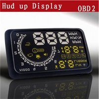 Wholesale W02 quot HUD Head up Display Security System Projector Car PC Driving Data Speedometer Speeding Warning System with OBDII OBD2