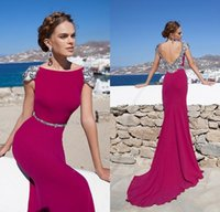 Cheap Reference Images Fuchsia Evening Dress Best Trumpet/Mermaid High Neck Women Evening Long Party