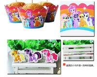 cupcake toppers - my little pony cupcake wrappers and toppers set baby party birthday shower supplies girl party decorations