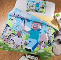 wholesale sheets - 5 Sets New Piece D Bedding Set Minecraft Creeper Kids Bed Set Twin Full Queen Size Duvet Cover Pillow Sham Beds Sheet D4506 BJ