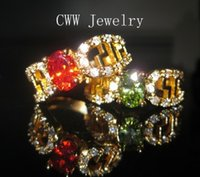 ruby ring and diamond - Vintage k Gold Plated Ruby Red and Emerald Green CZ Diamond Engagement Couple Rings For Lovers R028
