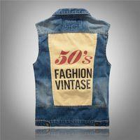 acid wash jacket - Fall Fashion Men s Denim Vest Acid Washed s Vintage Printed Distressed Scratched Motorcycle Sleeveless Jeans Jacket