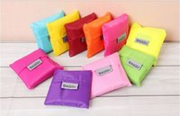 Wholesale 2015 Newest BAGGU Square Pocket Shopping Bag Candy colors Available Eco friendly Reusable Folding Handle Nylon Bag free shiping