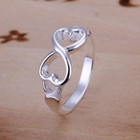 betrothal rings - Mixed Order Sterling Silver Jewelry Hearts Bowknot Silver Rings Infinity Rings Engagement Betrothal Rings R092