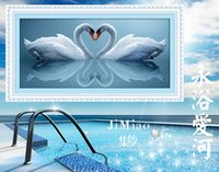 Wholesale 5D Counted Hot Sale Two Swans Love Precise Diamond Painting Cross Stitch Handmade DIY Embroidery kits Needlework Gift for Home Decor