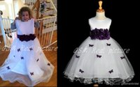 Wholesale Flower Girl s Dresses White purple Handmade Flower and Butterfly in Bodies Flower Girls Dresses Ribbon Child Pageant Gowns Custom Made