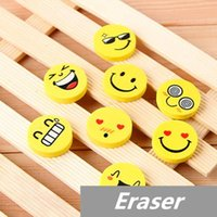 Wholesale 30 Smile face Erasers rubber for pencil kid funny cute stationery Novelty eraser Office accessories school supplies