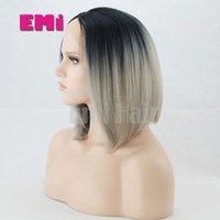 best synthetic lace front wigs - Fashion Ombre Two Tone Color Synthetic Heat Resistant Hair Straight Long Wigs Lace Front Wigs From Natural Color Wigs For Women Best Quality