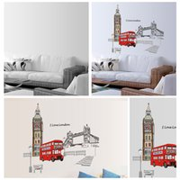 arts bus - Home Stickers Red London Double decker Bus Wall Decal Removable Sticker Art Mural Decoration cm H14961