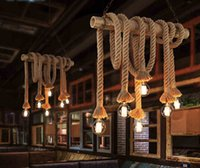 american lighting led rope light - Wholesaels Vintage Rope Pendant Lights Lamp Loft Creative Personality Industrial Lamp Edison Bulb American Style For Living Room decoration