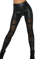 Wholesale Sexy Sheer Mesh Pants - 2016 New Black Sheer Mesh Leather Boots Leggings Skinny Stretch Pants Women's Sexy Fashion Faux Leather High Waist PU Legging Trousers 79853