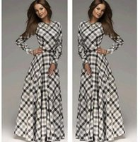 Wholesale Women Sexy Bohemia Long Dresses Evening Party Fashion Dress Long Sleeve Stripe Autumn Winter Slim A Full Length Dresses CC