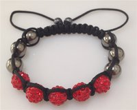 Wholesale Disco Crystal balls braid shamballa bracelet mm Clay crystal beads wrap charm bracelets cheap sale