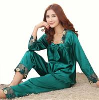Wholesale New Style Women Silk Pajamas Sets Spring Summer Design Elegant Lace Embroidered Female Satin Pajamas Red Green Dark Pink